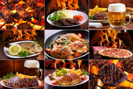 Photo for Collage of various meals with meat, fish and chicken - Royalty Free Image