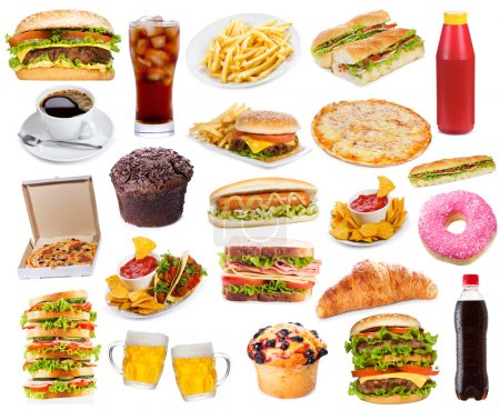 Photo for Set with fast food products on white background - Royalty Free Image