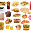 Set with fast food products on white background...