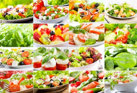 Photo for Collage with various salad - Royalty Free Image