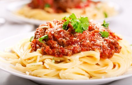 Photo for Plate of spaghetti with meat sauce - Royalty Free Image
