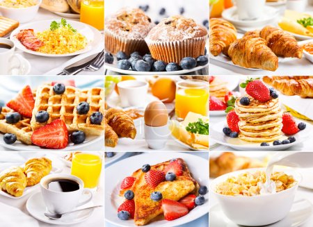 Photo for Collage of breakfast with eggs, coffee, croissants, pastry and fruits - Royalty Free Image