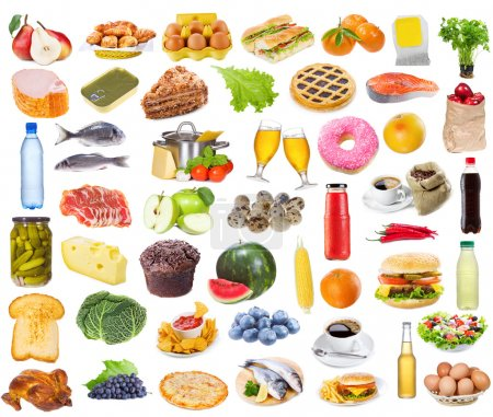 Photo for Food collection isolated on white background - Royalty Free Image