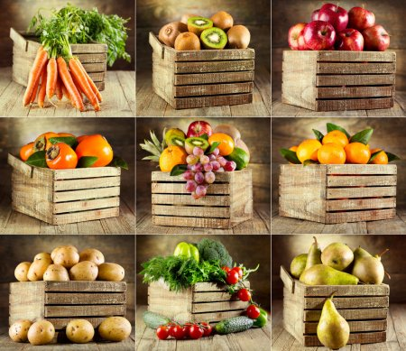 Collage of various fruits and vegetables on wooden...