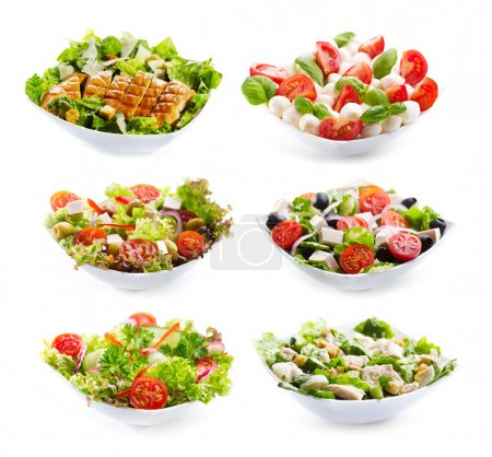 Photo for Set of varioust salads on white background - Royalty Free Image