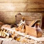 Old wooden plane in a workshop...