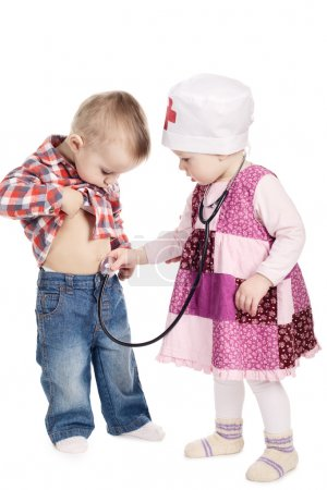 children are playing doctor with stethoscope