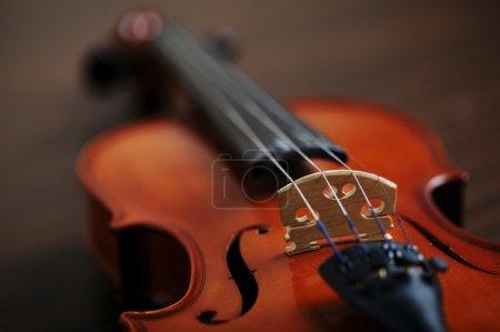 Photo pour Ans de violon à la main sur fond foncé - image libre de droit