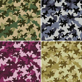 Set of 4 camouflage seamless patterns Can be used for wallpaper pattern fills web page background surface textures