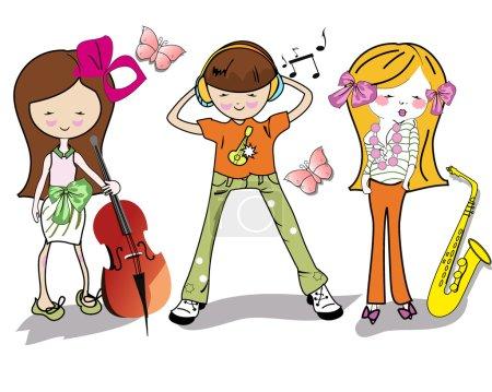 Fashion cartoon children with musical instruments