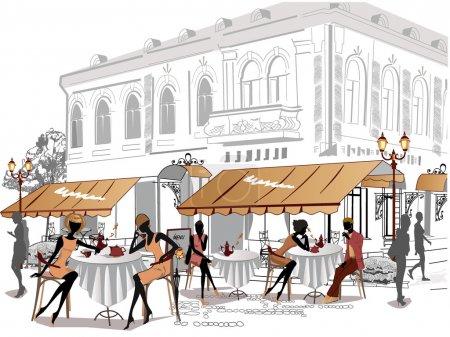 Photo pour Série de croquis de belle vue sur la ville ancienne avec des cafés et des filles, boire du café - image libre de droit