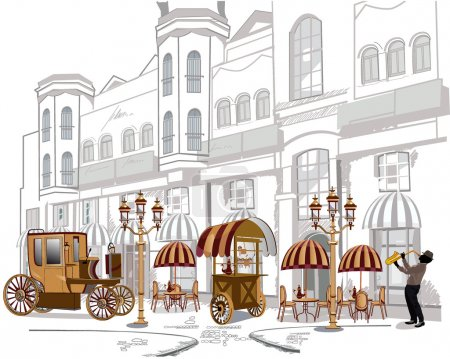 Illustration for Series of sketches of beautiful old city views with cafes and musicians - Royalty Free Image