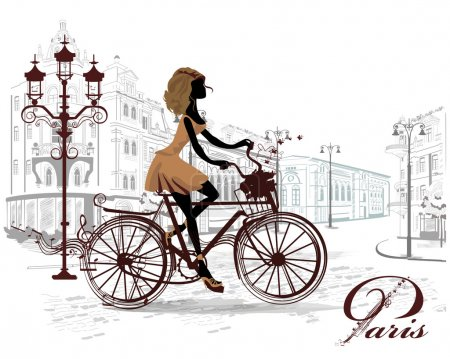 Illustration for Fashion girl rides a bicycle, decorated with a musical stave and butterflies, the streets of the old town. - Royalty Free Image