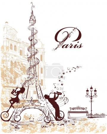 Illustration for Eiffel Tower decorated with musical stave, notes, musicians, vintage elements - Royalty Free Image