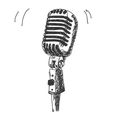 Hand drawn studio microphone