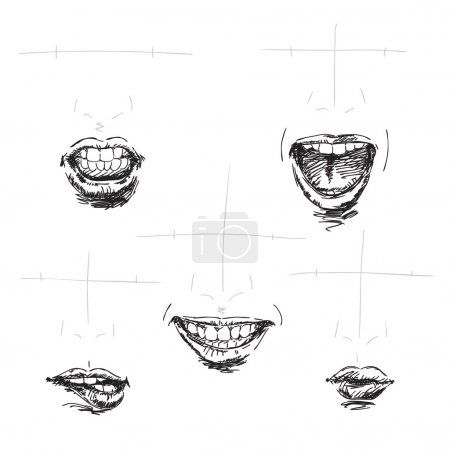 Illustration for Hand drawn lips - Royalty Free Image