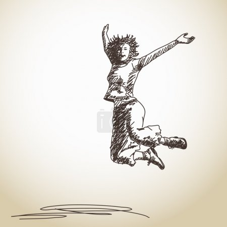 Illustration for Sketch of jumping young woman - Royalty Free Image