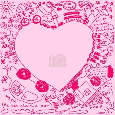 Family doodles in heart shape
