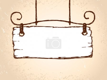 Vector sketch retro sign board wooden hanging on s...