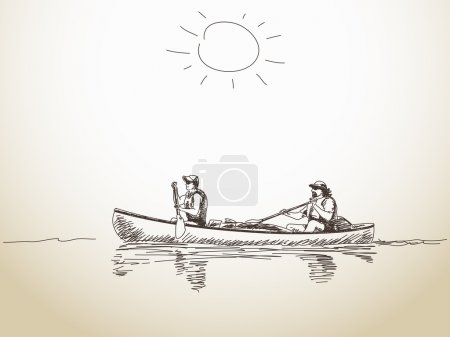 Illustration for Summer sport canoe with two people Vector sketch - Royalty Free Image