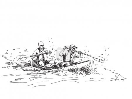 Illustration for Vector sketch Summer sport canoe with two people - Royalty Free Image