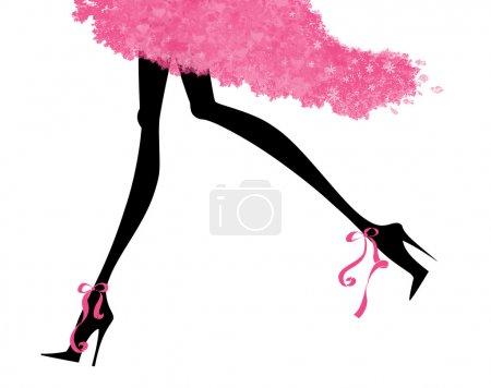 Photo pour Illustration de mode de longues jambes sexy en talons aiguilles et une robe de soirée - image libre de droit