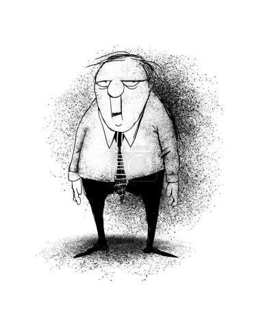 Photo for Funny cartoon of a stressed office worker or businessman - Royalty Free Image
