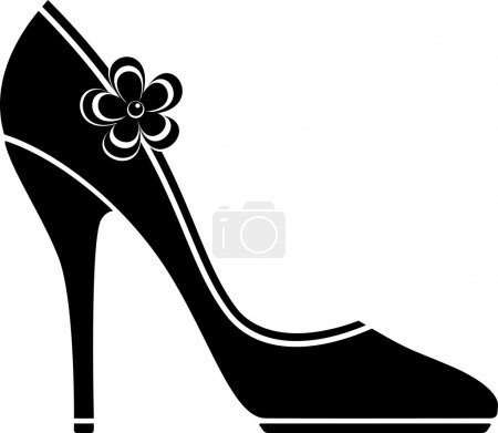 High heel shoes (silhouette) over white. EPS 10, A...