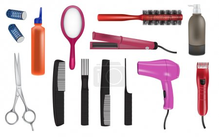 Illustration for Hairdresser realistic vector icons - Royalty Free Image