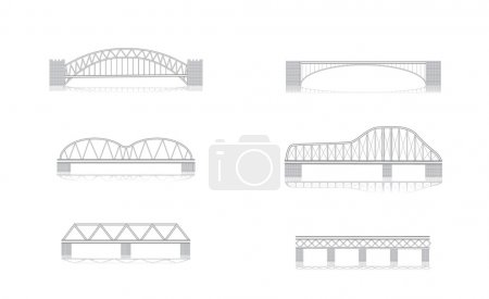 Various bridge grayscale vector illustrations with...