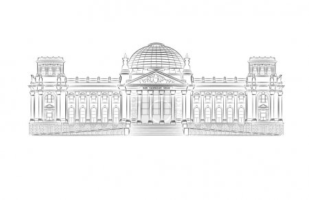 Reichstag building stylized illustration in vector...