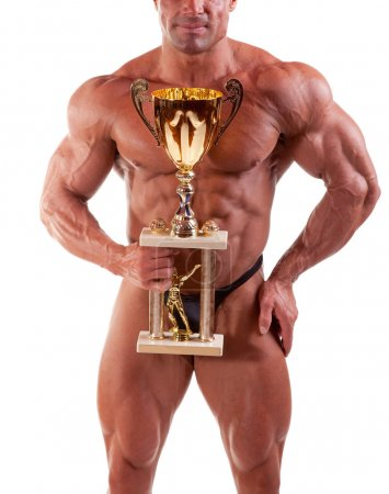Photo for Bodybuilder flexing his muscles isolated on white - Royalty Free Image
