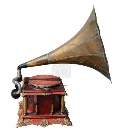 Antique gramophone, isolated on white....