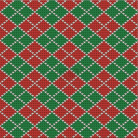 Illustration pour Arrière-plan argyle de Noël rouge et vert tricoté, plus motif sans couture inclus dans la palette swatch (remplissage de motif élargi ) - image libre de droit