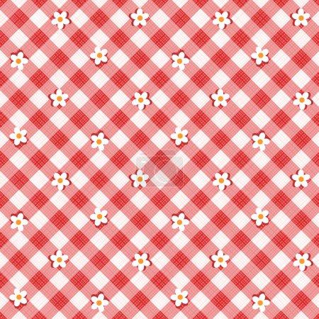 Illustration pour Fond en tissu gingham floral rouge et blanc avec texture en tissu, plus motif sans couture inclus dans la palette de swatch, remplissage de motif élargi - image libre de droit