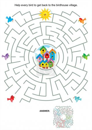 Illustration for Maze game or activity page for kids: Help every bird to get back to the birdhouse village. Answer included. - Royalty Free Image