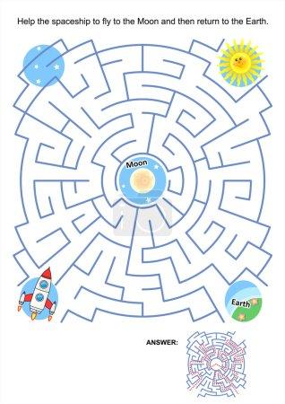 Illustration pour Page de jeu ou d'activité de labyrinthe pour les enfants : Aidez le vaisseau spatial à voler vers la Lune, puis revenez sur Terre. Réponse incluse . - image libre de droit