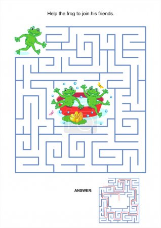 Maze game for kids - playful frogs