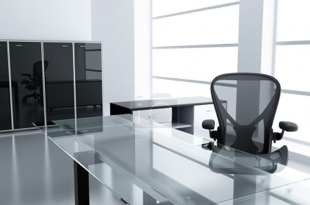 Photo for Light modern cubicle with a table and an armchair in a time off - Royalty Free Image