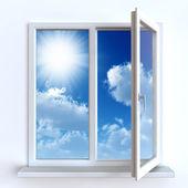 Öffnen Sie Fenster gegen eine weiße Wand und den bewölkten Himmel und Sonne