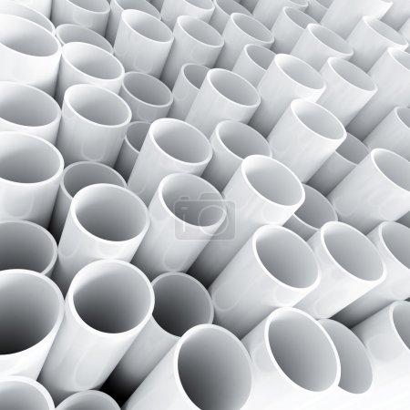 White plastic tube as technological background