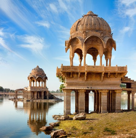 Photo for Gadi Sagar (Gadisar) Lake is one of the most important tourist attractions in Jaisalmer, Rajasthan, North India. - Royalty Free Image