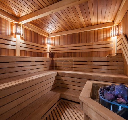 Photo for Interior of a wooden sauna - Royalty Free Image