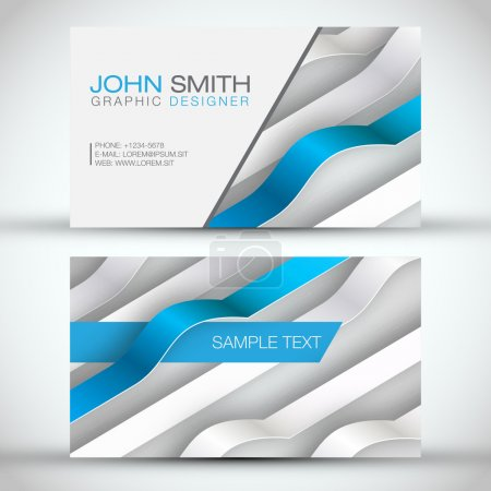 Blue Modern 3D Lines Business-Card Set | EPS10 Vector Design