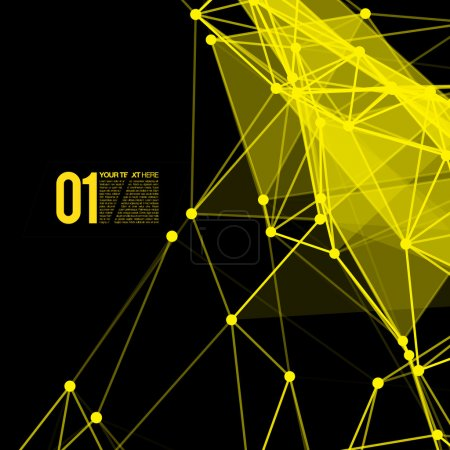 Illustration for Abstract yellow mesh background with circles, lines and shapes. EPS10 Futuristic Design - Royalty Free Image