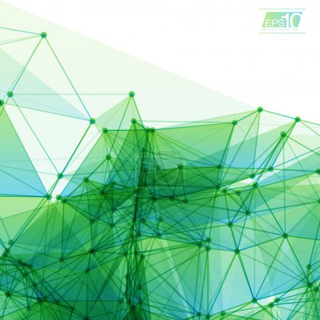Illustration for 3D Green and Blue Abstract Mesh Background with Circles, Lines and Shapes. EPS10 Design Layout for Your Business - Royalty Free Image