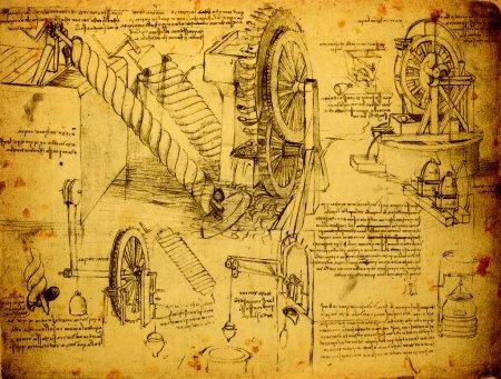 Photo pour 14ème siècle Leonardo da Vinci dessin d'ingénierie - image libre de droit