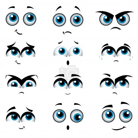 Illustration for Cartoon faces with various expressions, vector illustration - Royalty Free Image
