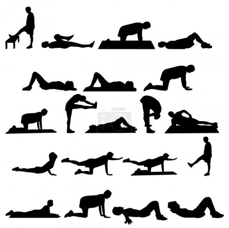 silhouettes of girl and man exercise