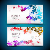 Business cards with mosaic made from puzzle pieces
